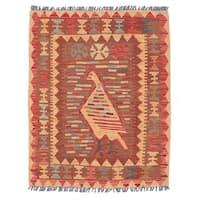 Herat Oriental Afghan Hand-woven Wool Mimana Kilim (2'8 x 3'4) - 2'8 x 3'4