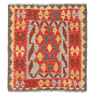 Herat Oriental Afghan Hand-woven Wool Mimana Kilim (3' x 3'3)