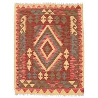 Herat Oriental Afghan Hand-woven Wool Mimana Kilim (2'10 x 3'9) - 2'10 x 3'9