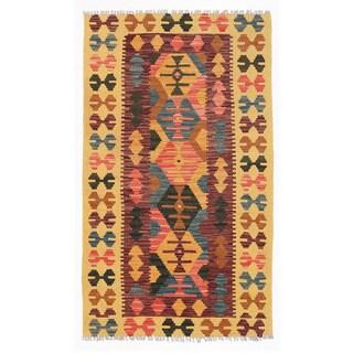 Herat Oriental Afghan Hand-woven Wool Mimana Kilim (2'10 x 4'10)