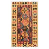 Herat Oriental Afghan Hand-woven Wool Mimana Kilim (2'10 x 4'10) - 2'10 x 4'10