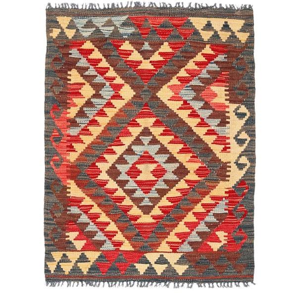 Herat Oriental Afghan Hand-woven Wool Mimana Kilim (2'9 x 3'8) - 2'9 x 3'8