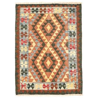 Herat Oriental Afghan Hand-woven Wool Mimana Kilim (2'9 x 3'9)