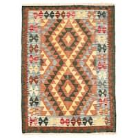 Herat Oriental Afghan Hand-woven Wool Mimana Kilim (2'9 x 3'9) - 2'9 x 3'9