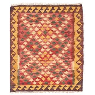 Herat Oriental Afghan Hand-woven Wool Mimana Kilim (2'9 x 3'3)