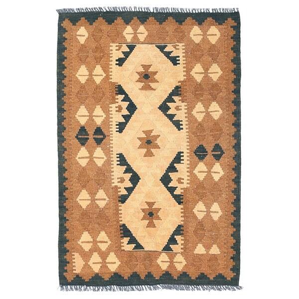 Handmade Herat Oriental Afghan Wool Mimana Kilim (Afghanistan) - 2'7 x 3'11