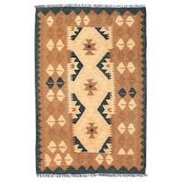 Herat Oriental Afghan Hand-woven Wool Mimana Kilim (2'7 x 3'11) - 2'7 x 3'11