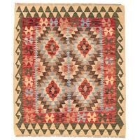 Herat Oriental Afghan Hand-woven Wool Mimana Kilim - 3' x 3'8