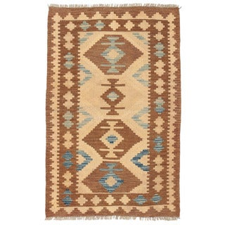Herat Oriental Afghan Hand-woven Wool Mimana Kilim (2'8 x 4'3)
