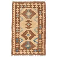 Handmade Herat Oriental Afghan Wool Mimana Kilim (Afghanistan) - 2'8 x 4'3