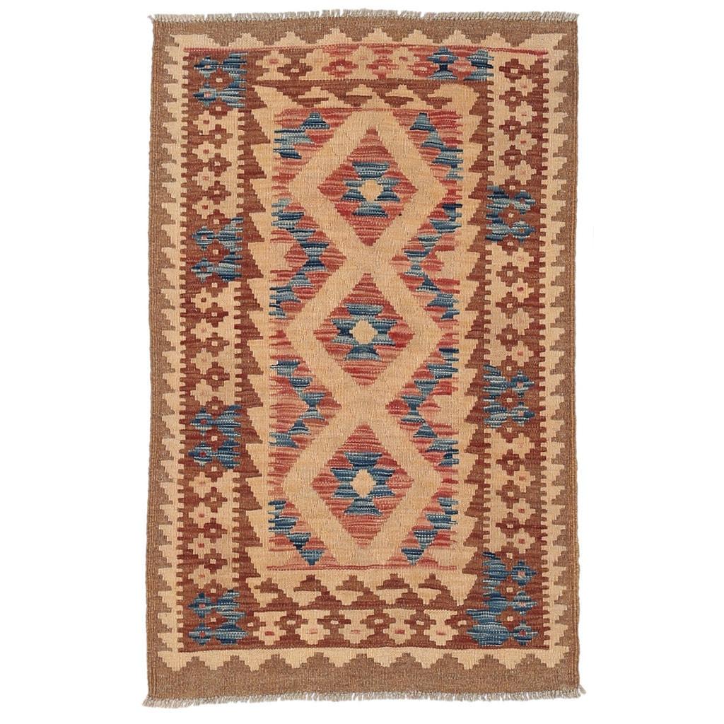 Handmade Herat Oriental Afghan Wool Mimana Kilim (Afghanistan) - 28 x 44 (Handmade Wool Mimana Kilim)