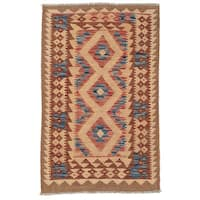 Handmade Herat Oriental Afghan Wool Mimana Kilim  - 2'8 x 4'4 (Afghanistan)