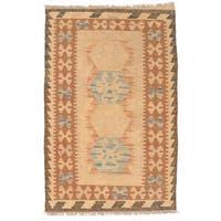 Handmade Herat Oriental Afghan Wool Mimana Kilim  - 2'8 x 4'2 (Afghanistan)