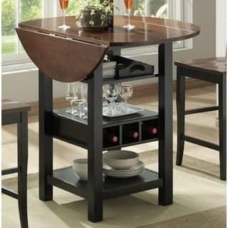 Black/Mahogany MDF/Veneer 40-inch Ridgewood Drop Leaf Wine Rack Pub Table|https://ak1.ostkcdn.com/images/products/12145890/P19000855.jpg?impolicy=medium