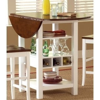 Bernardo Ridgewood Brown/White Drop-leaf Wine Rack Pub Table