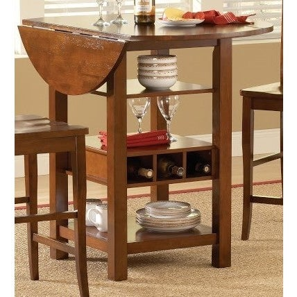Ridgewood Mahogany Finish Drop Leaf Pub Table With Wine Rack