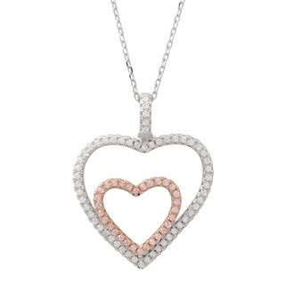 Luxiro Two-tone Sterling Silver Pink Cubic Zirconia Double Heart Pendant Necklace