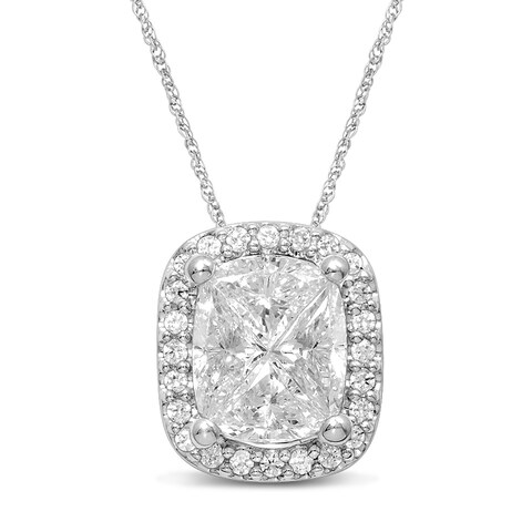 Unending Love 14k White Gold 7/8ct TDW Diamond Pie Cut Cushion Fashion Pendant