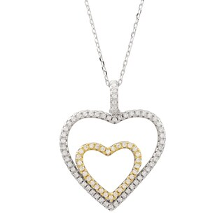 Luxiro Two-tone Sterling Silver Pave Cubic Zirconia Double Heart Pendant Necklace