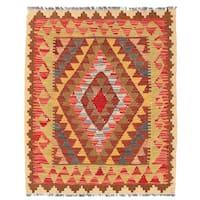 Herat Oriental Afghan Hand-woven Wool Mimana Kilim (2'10 x 3'7)