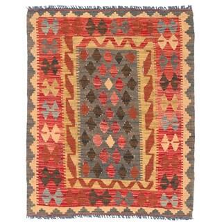Herat Oriental Afghan Hand-woven Wool Mimana Kilim (3' x 3'9)