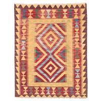 Herat Oriental Afghan Hand-woven Wool Mimana Kilim (2'10 x 3'8) - 2'10 x 3'8