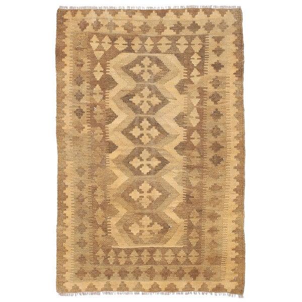 Herat Oriental Afghan Hand-woven Wool Mimana Kilim (2'10 x 4'6)