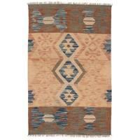 Herat Oriental Afghan Hand-woven Wool Mimana Kilim Rug - 2'7 x 4'1