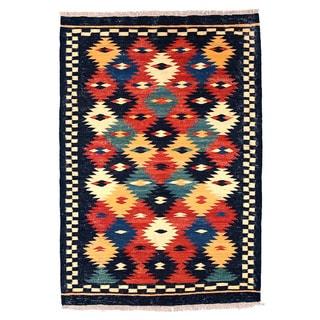 Herat Oriental Afghan Hand-woven Wool Mimana Kilim (2'9 x 3'11)