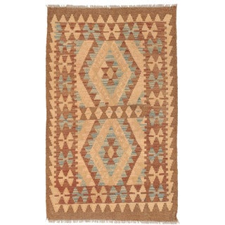 Herat Oriental Afghan Hand-woven Wool Mimana Kilim (2'8 x 4'5)
