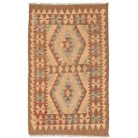 Handmade Herat Oriental Afghan Wool Mimana Kilim  - 2'8 x 4'5 (Afghanistan)