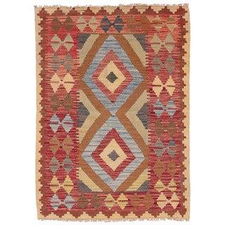 Herat Oriental Afghan Hand-woven Wool Mimana Kilim (2'9 x 3'10)