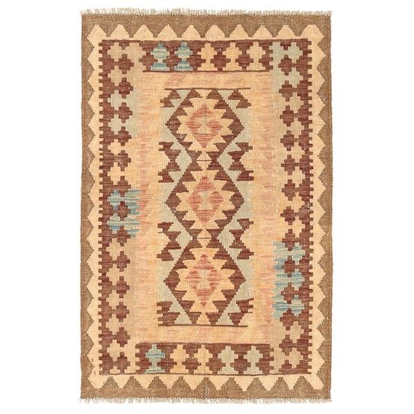 Handmade Herat Oriental Afghan Wool Mimana Kilim (Afghanistan) - 2'8 x 4'
