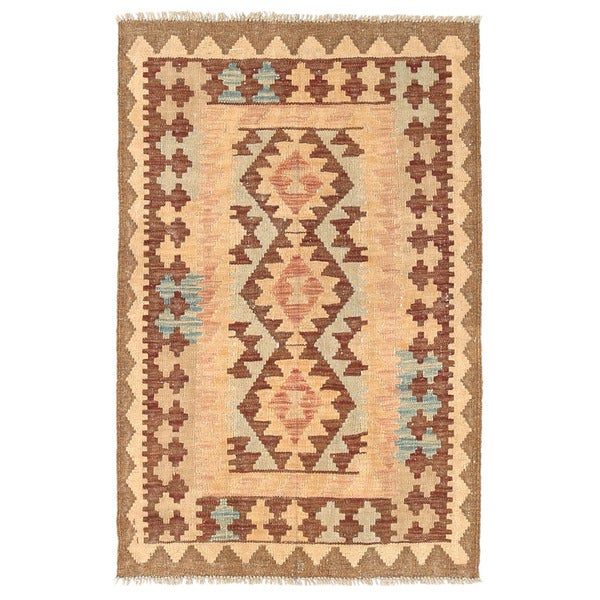 Herat Oriental Afghan Hand-woven Wool Mimana Kilim (2'8 x 4')