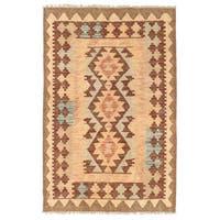 Handmade Herat Oriental Afghan Wool Mimana Kilim  - 2'8 x 4' (Afghanistan)