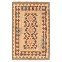 Herat Oriental Afghan Hand-woven Wool Mimana Kilim - 2'8 x 4'