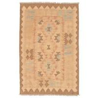 Herat Oriental Afghan Hand-woven Wool Mimana Kilim (2'8 x 4') - 2'8 x 4'