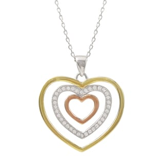 Luxiro Tri-color Sterling Silver Pave Cubic Zirconia Open Heart Pendant Necklace