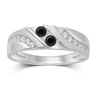 Unending Love 10k White Gold 0.5-carat Black/White Treated Diamond 2-stone Men's Ring