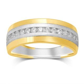 Unending Love 14k Gold 1/2-carat Diamond Two-tone Channel-set Band