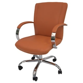 Lachman Orange Faux-leather and Steel Office Chair