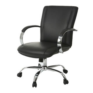 Lachman Silver/Black Steel/Faux Leather Office Chair