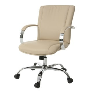 Lachman Beige, Silver Faux Leather, Steel Adjustable Office Chair