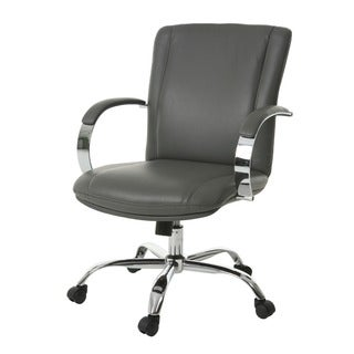Lachman Grey/Silver Steel/Faux Leather Office Chair