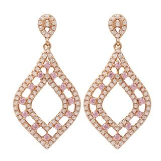 Luxiro Rose Gold Finish Sterling Silver Cubic Zirconia Teardrop Dangle Earrings