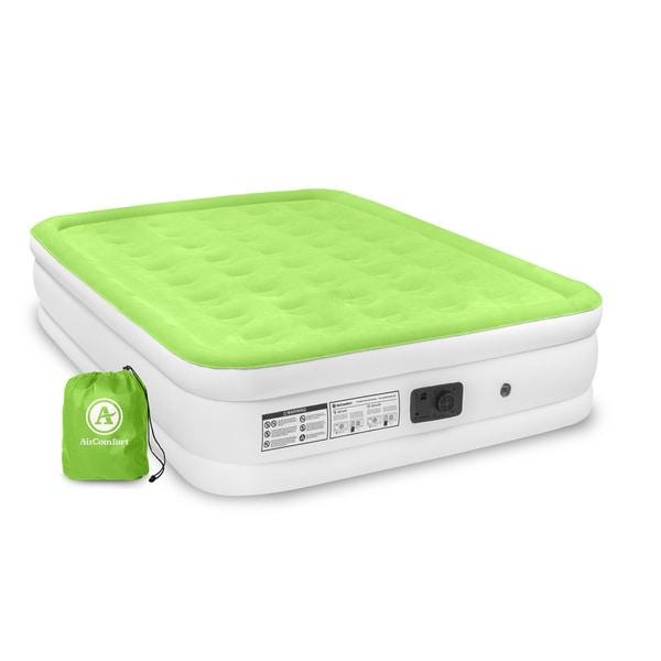Air Comfort Dream Easy Queen Size Raised Air Mattress w/ Built-in Pump - Green