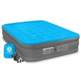 air comfort camp mate blue pvc queensize raised air mattress