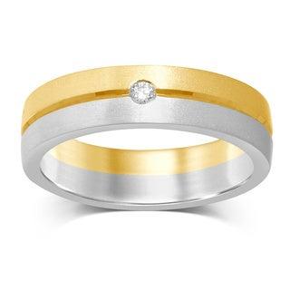 Unending Love 14k Two-tone White and Yellow Gold 0.05 CTW Single Diamond Machine-set Band