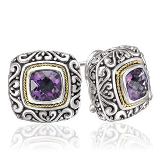 Avanti Sterling Silver and 18k Yellow Gold Amethyst Cushion Shape Earrings