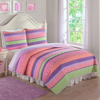 Laura Hart Kids Anna's Pastel Stripes 3-piece Quilt Set